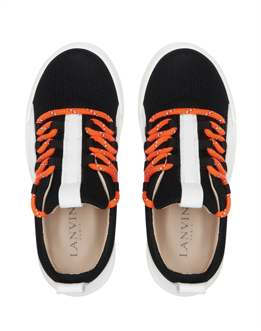 MIXED MATERIAL LOW-TOP SNEAKERS       - Lanvin