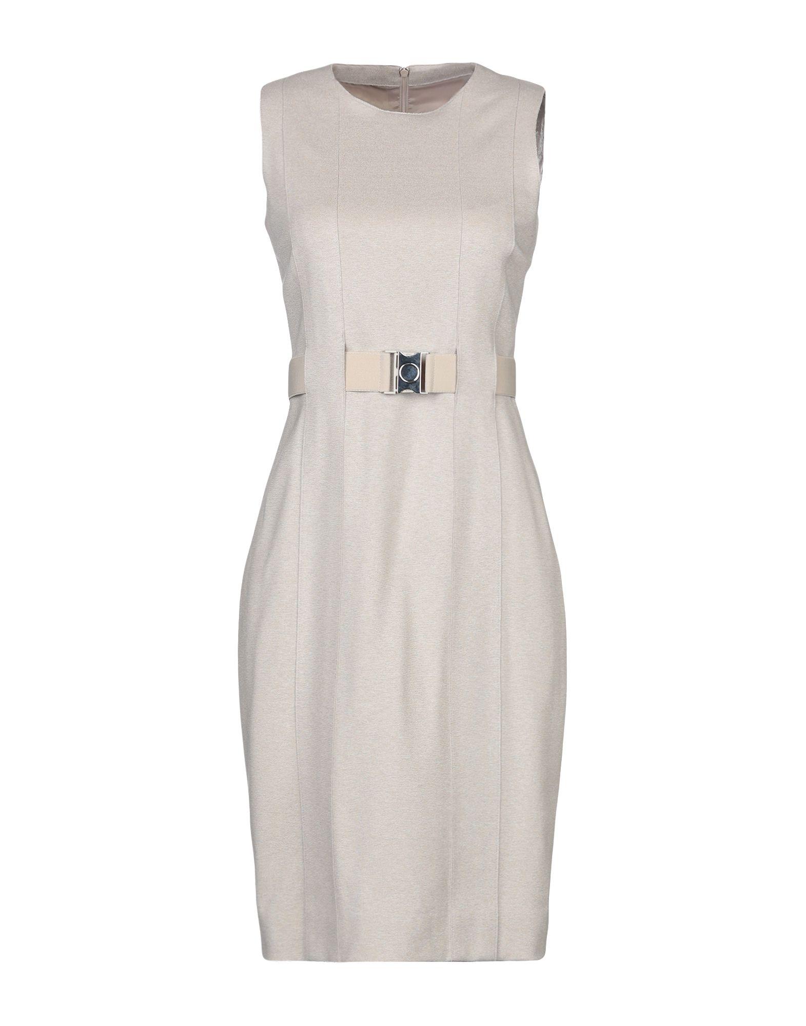 AKRIS PUNTO Knee-length dresses. jersey, belt, solid color, round collar, sleeveless, rear closure, zip, fully lined, stretch. 70% Viscose, 25% Polyamide, 5% Elastane