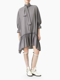 Ascot tie shirt dress