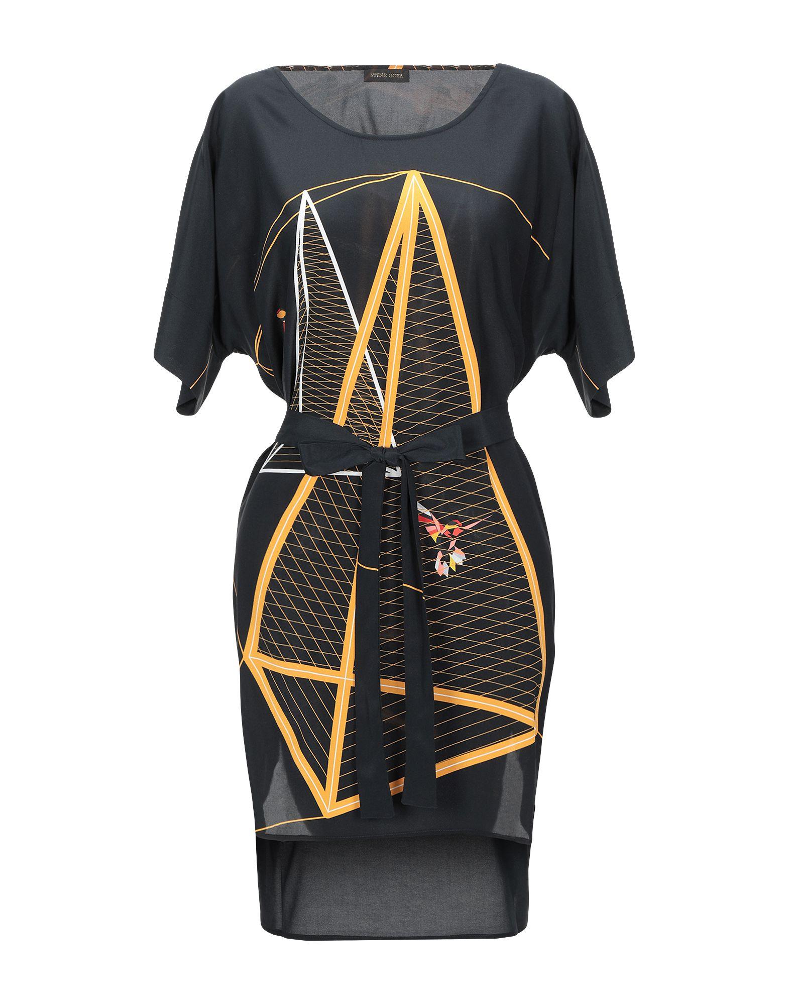 《期間限定セール開催中!》STINE GOYA レディース ミニワンピース&ドレス ブラック XS/S シルク 97% / ポリウレタン? 3%