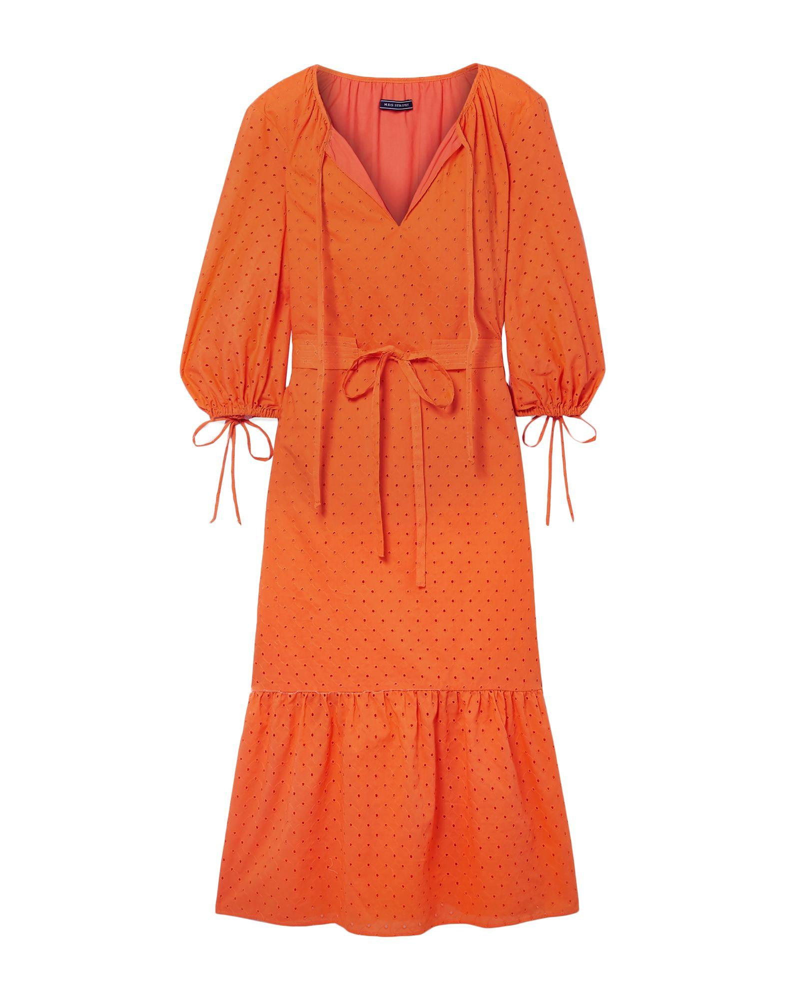 《セール開催中》MDS STRIPES レディース 7分丈ワンピース・ドレス オレンジ 6 コットン 100%