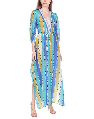 Фото 2 - Женское длинное платье  лазурного цвета