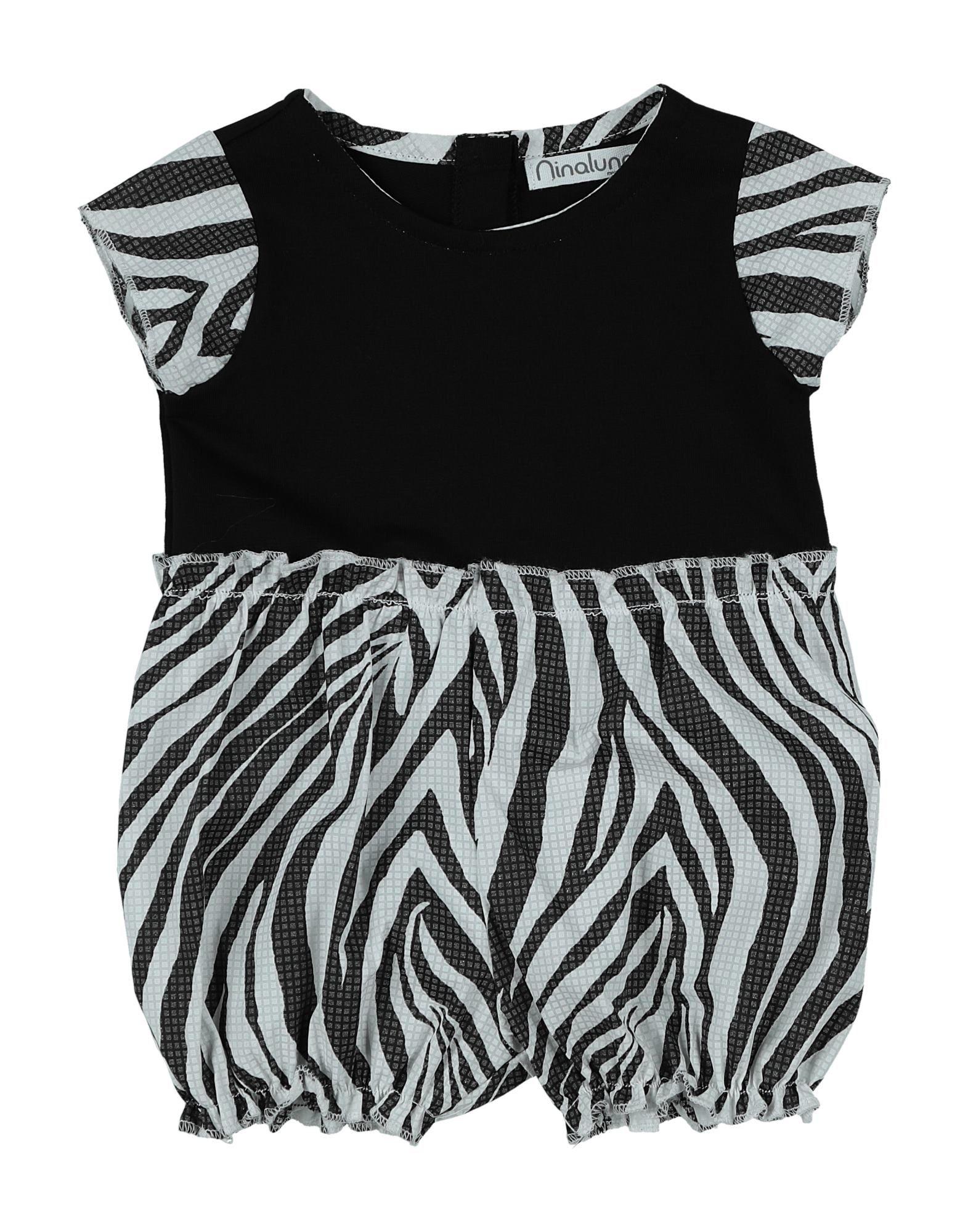 《セール開催中》NINALUNA ガールズ 0-24 ヶ月 乳幼児用ロンパース ブラック 3 コットン 95% / ポリウレタン 5%