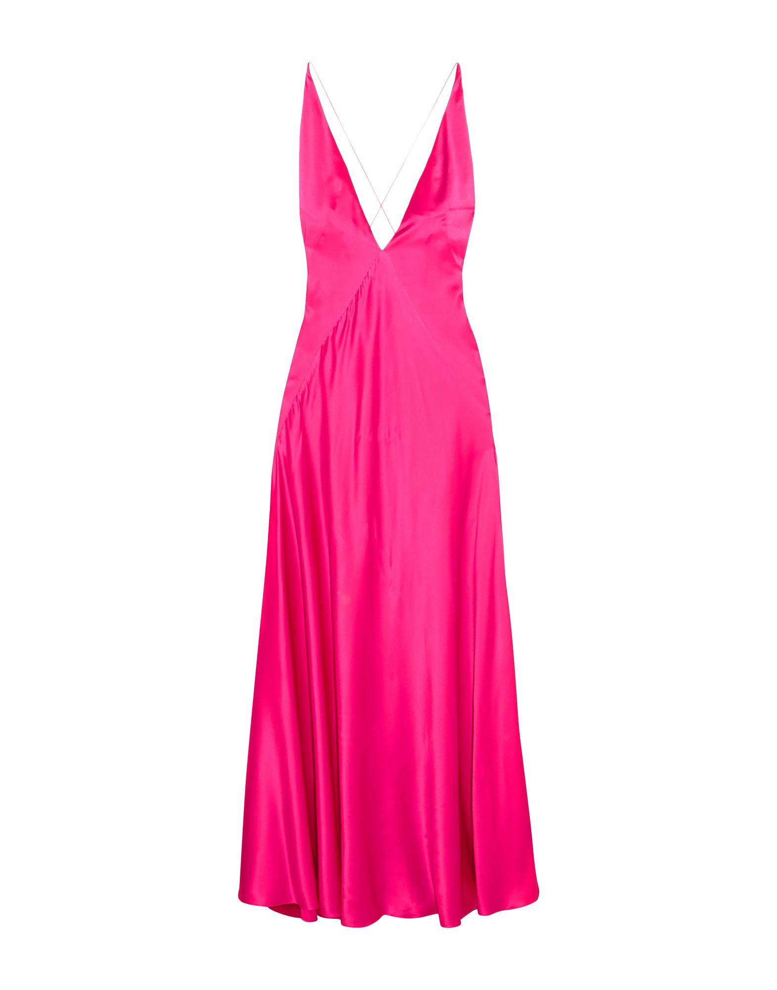 《セール開催中》MICHAEL LO SORDO レディース ロングワンピース&ドレス フューシャ 8 シルク 100%