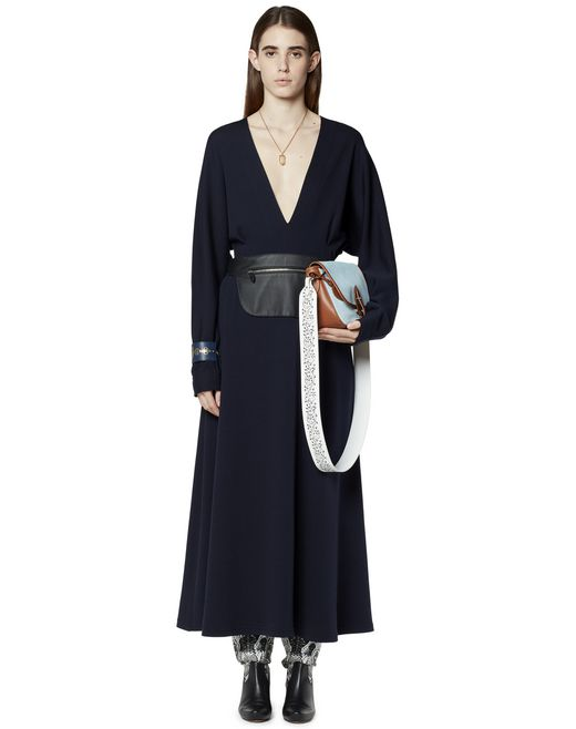 LONG WOOL DRESS WITH LEATHER BELT	 - Lanvin