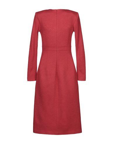 Фото 2 - Платье до колена красного цвета