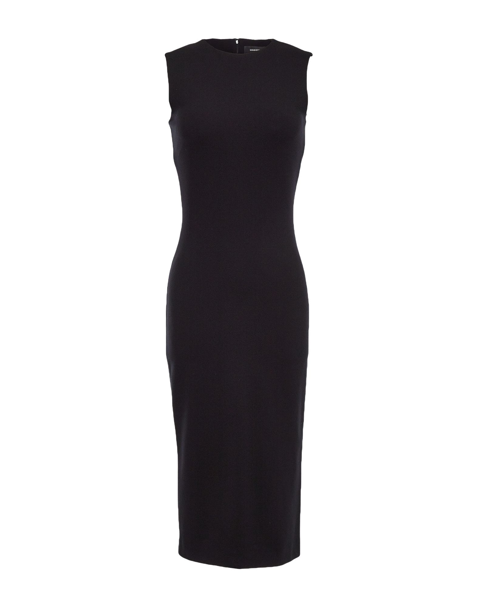 DSQUARED2 Knee-length dresses. synthetic jersey, solid color, round collar, no pockets, hook-and-bar, zip, sleeveless, unlined, rear closure, no appliqués, stretch, small sized. 67% Viscose, 28% Polyamide, 5% Elastane