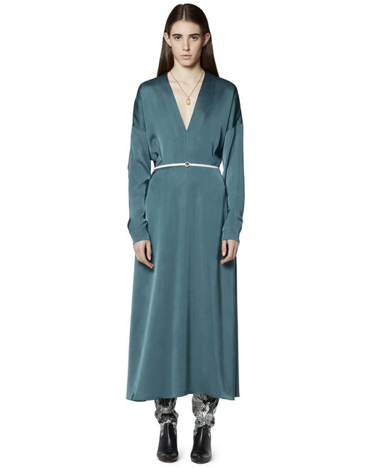 LONG SATIN CINCHED DRESS - Lanvin