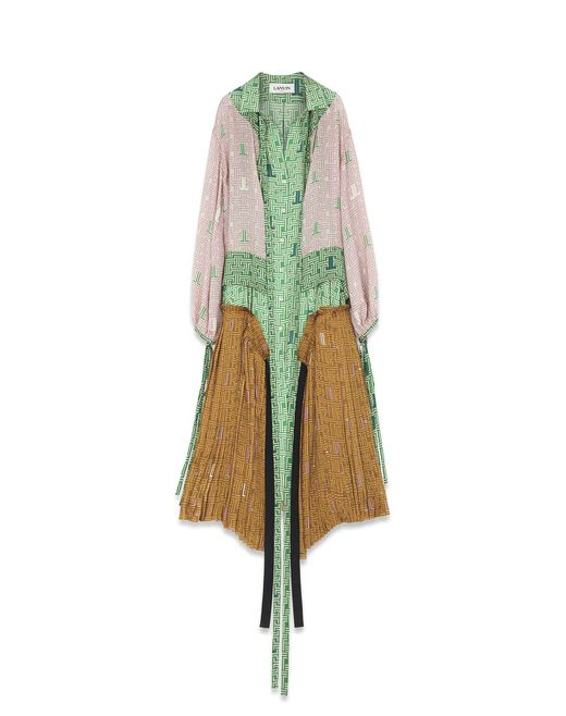 LONG SILK PATCHWORK DRESS - Lanvin