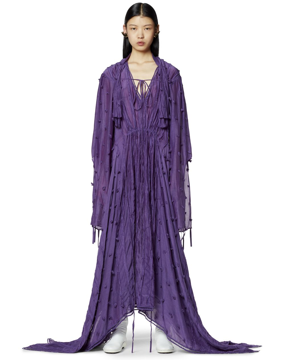 LONG ASYMMETRICAL DRESS IN COTTON AND SILK - Lanvin