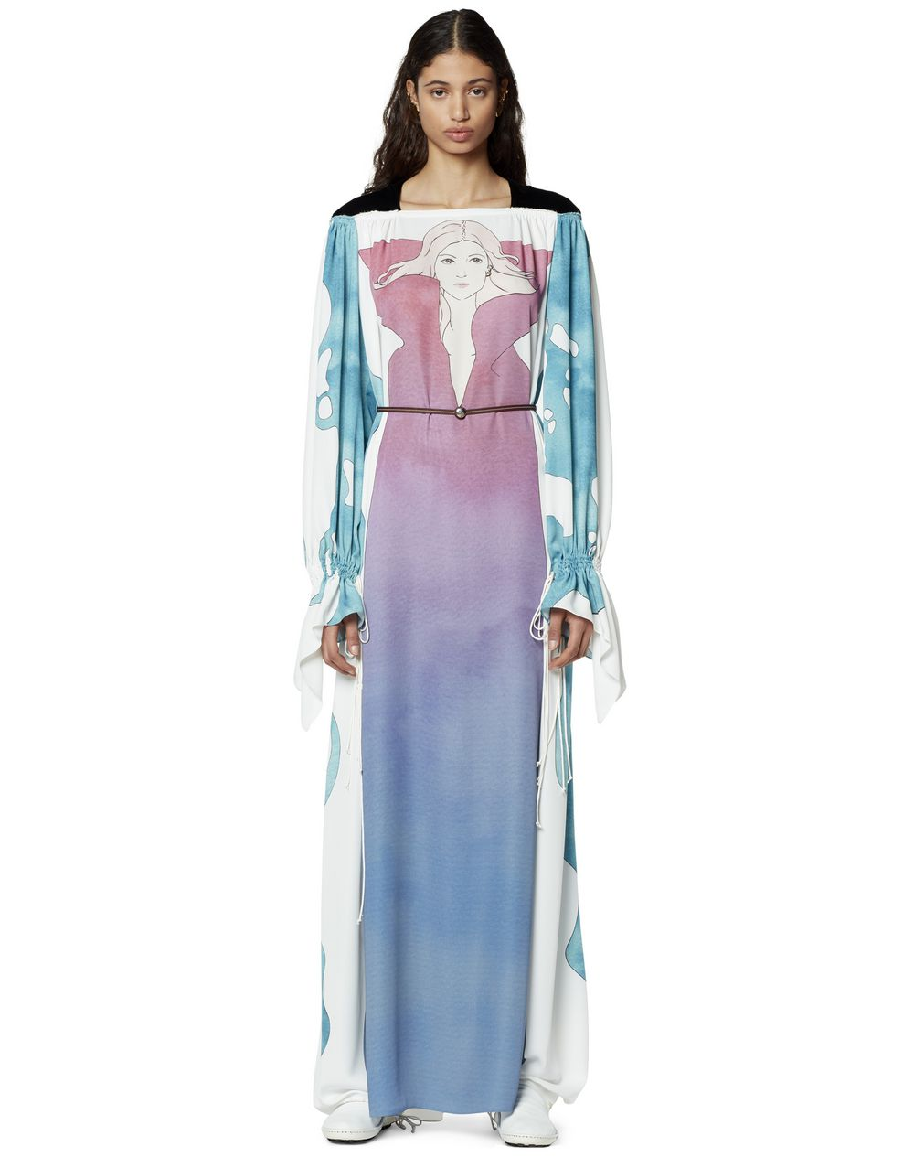 LONG PRINTED SILK DRESS - Lanvin