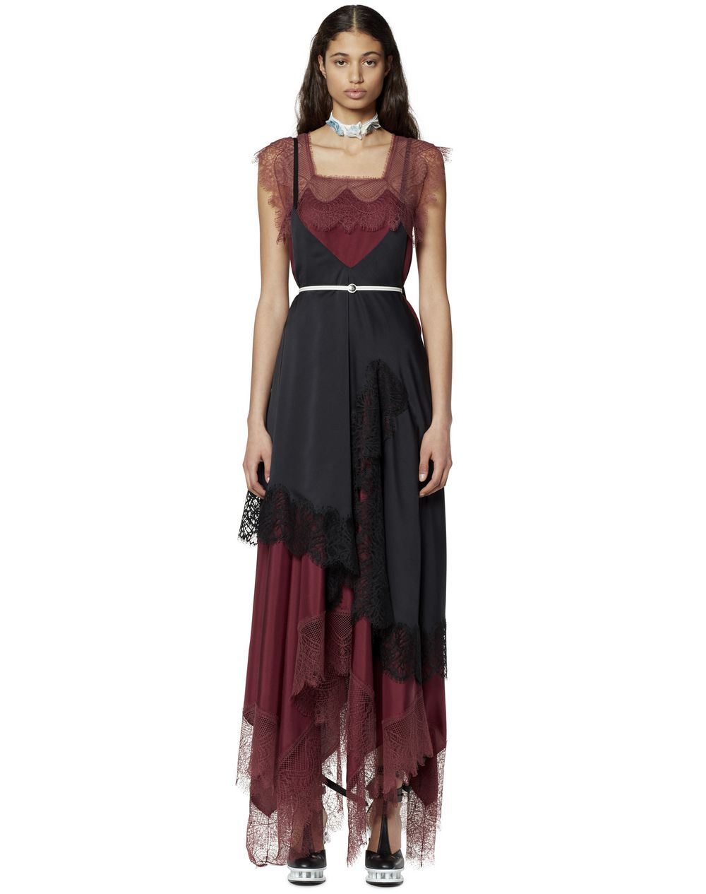 LONG ASYMMETRICAL LACE DRESS - Lanvin