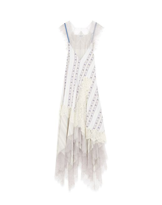LONG SILK AND LACE DRESS - Lanvin
