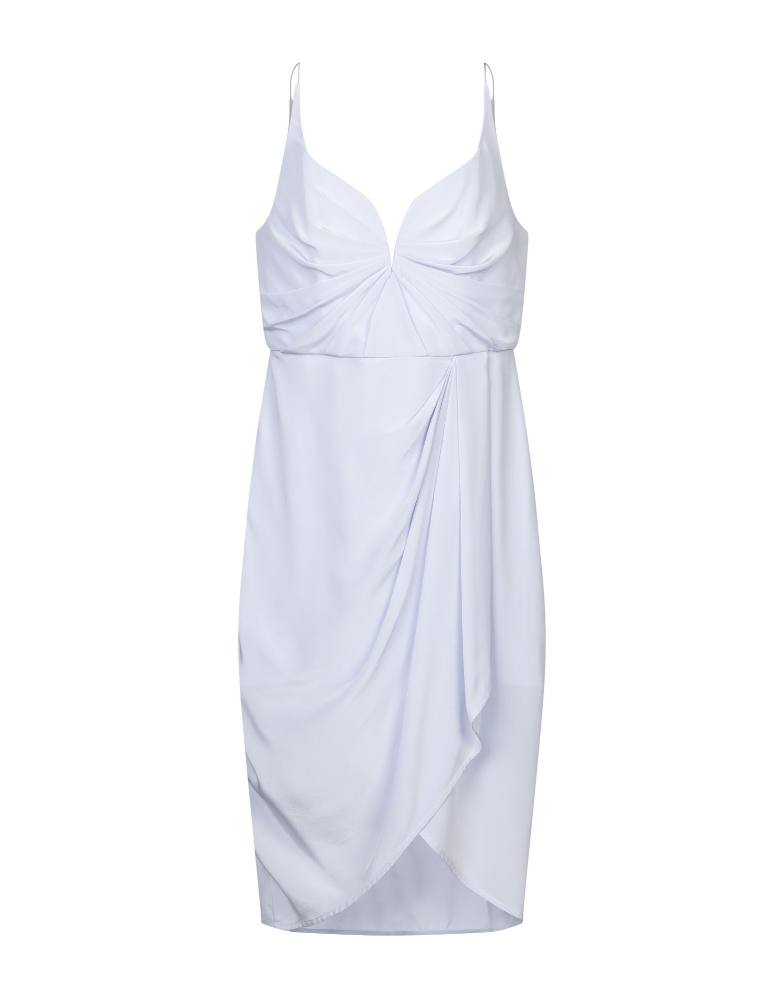 ZIMMERMANN Knee-length dresses. crepe, frills, draped detailing, basic solid color, deep neckline, sleeveless, rear closure, hook-and-bar, zip, fully lined. 100% Silk