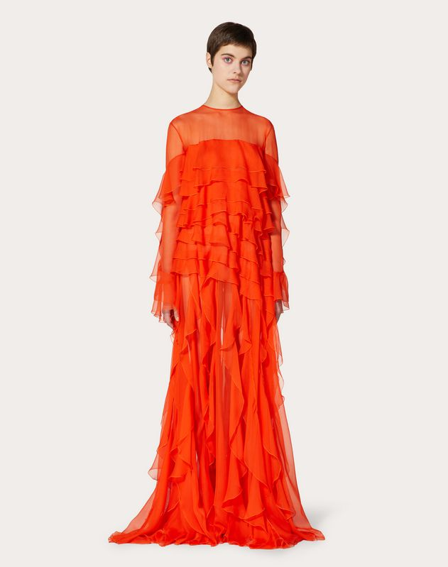 Chiffon Evening Dress with Ruffles
