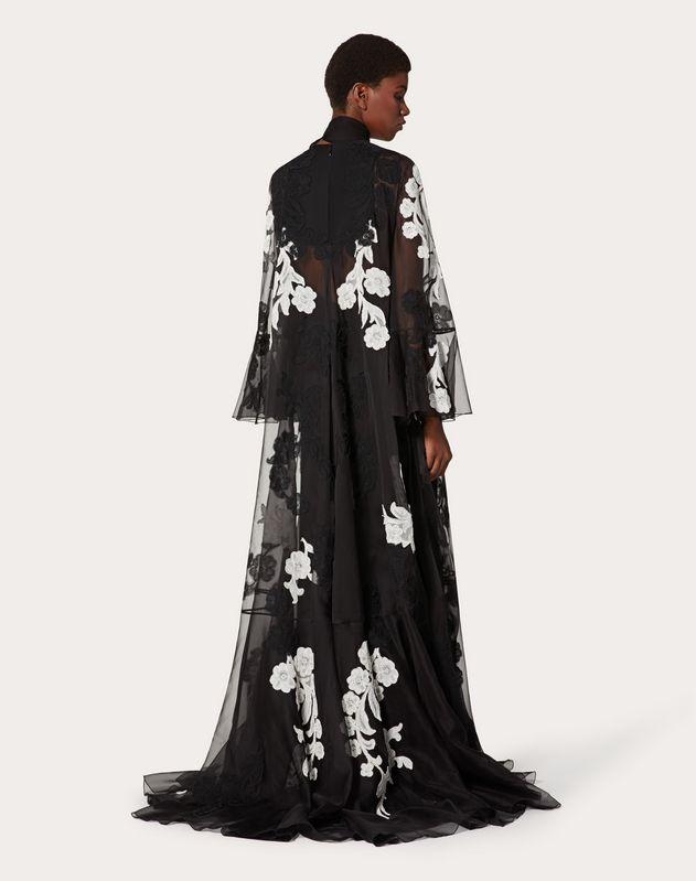 エンブロイダリー オーガンザ イブニングドレス
