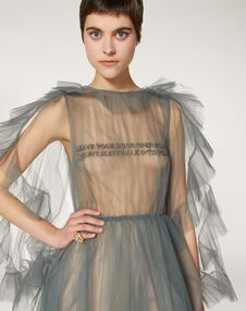 Tulle Evening Dress with Poetry Detailing