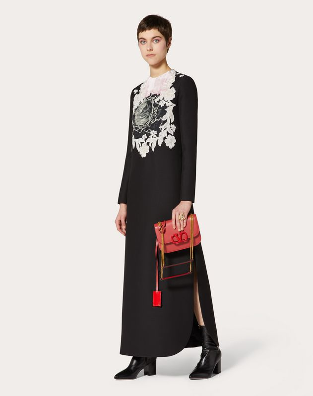 Crepe Couture Dress with Applied Undercover Print and Lace