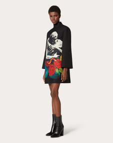 Crepe Couture Dress with Applied Undercover Print