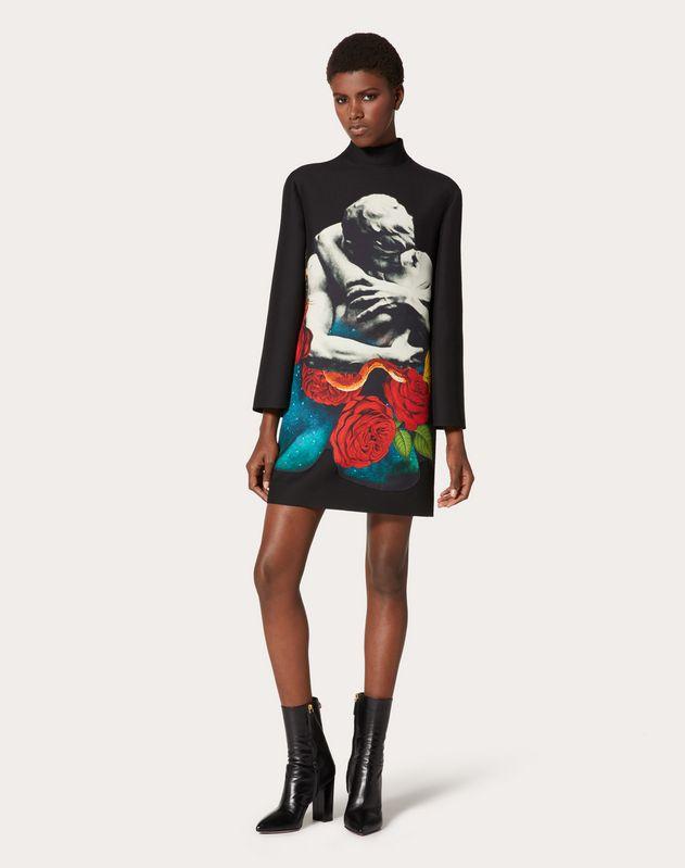 Платье из ткани Crêpe Couture с принтом-аппликацией Undercover