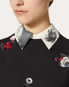 Embroidered Crepe Couture Dress with Undercover Print Collar