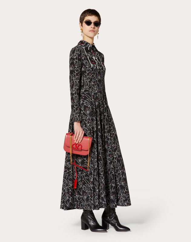 Undercover Print Crepe de Chine Embroidered Dress