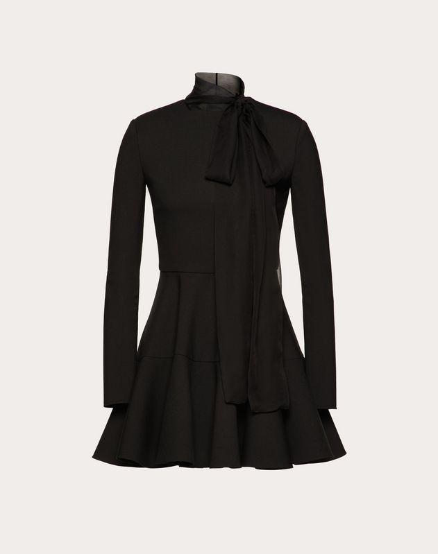 Платье из технической двойной шерсти и шифона