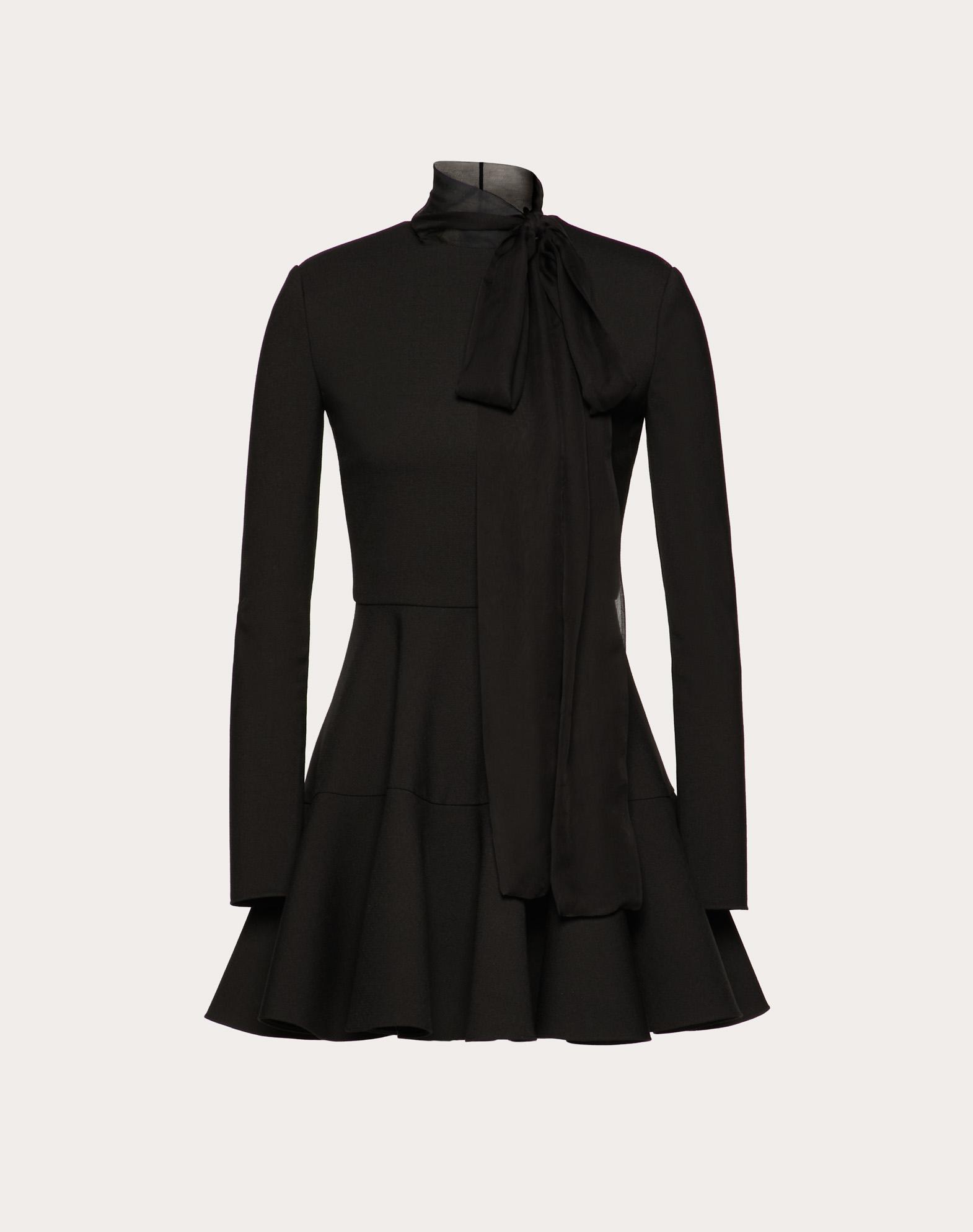 Technical Double Wool and Chiffon Dress