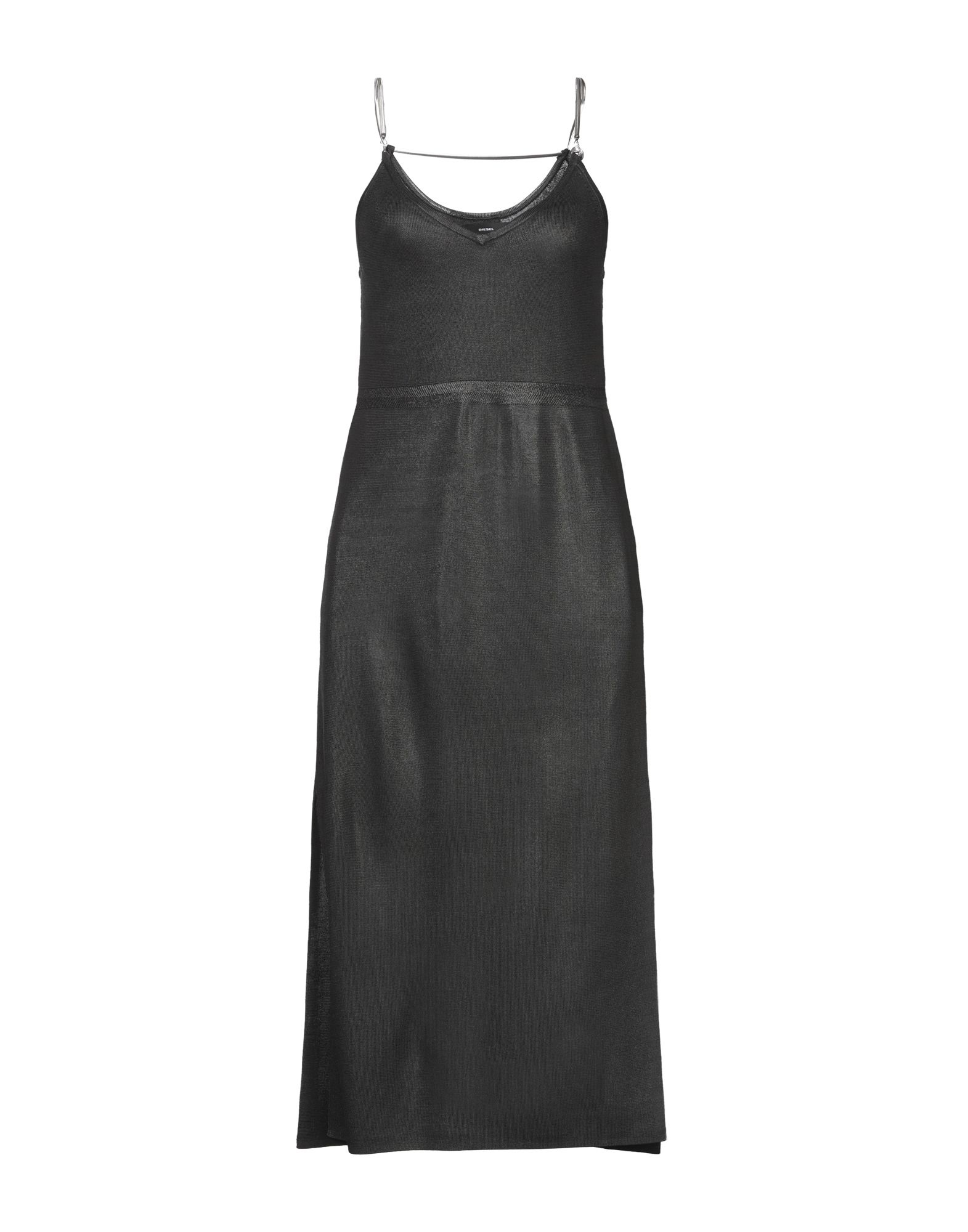 DIESEL 3/4 length dresses. knitted, metal applications, solid color, round collar, sleeveless, no pockets, dual side vents, lightweight sweater, unlined. 100% Rayon