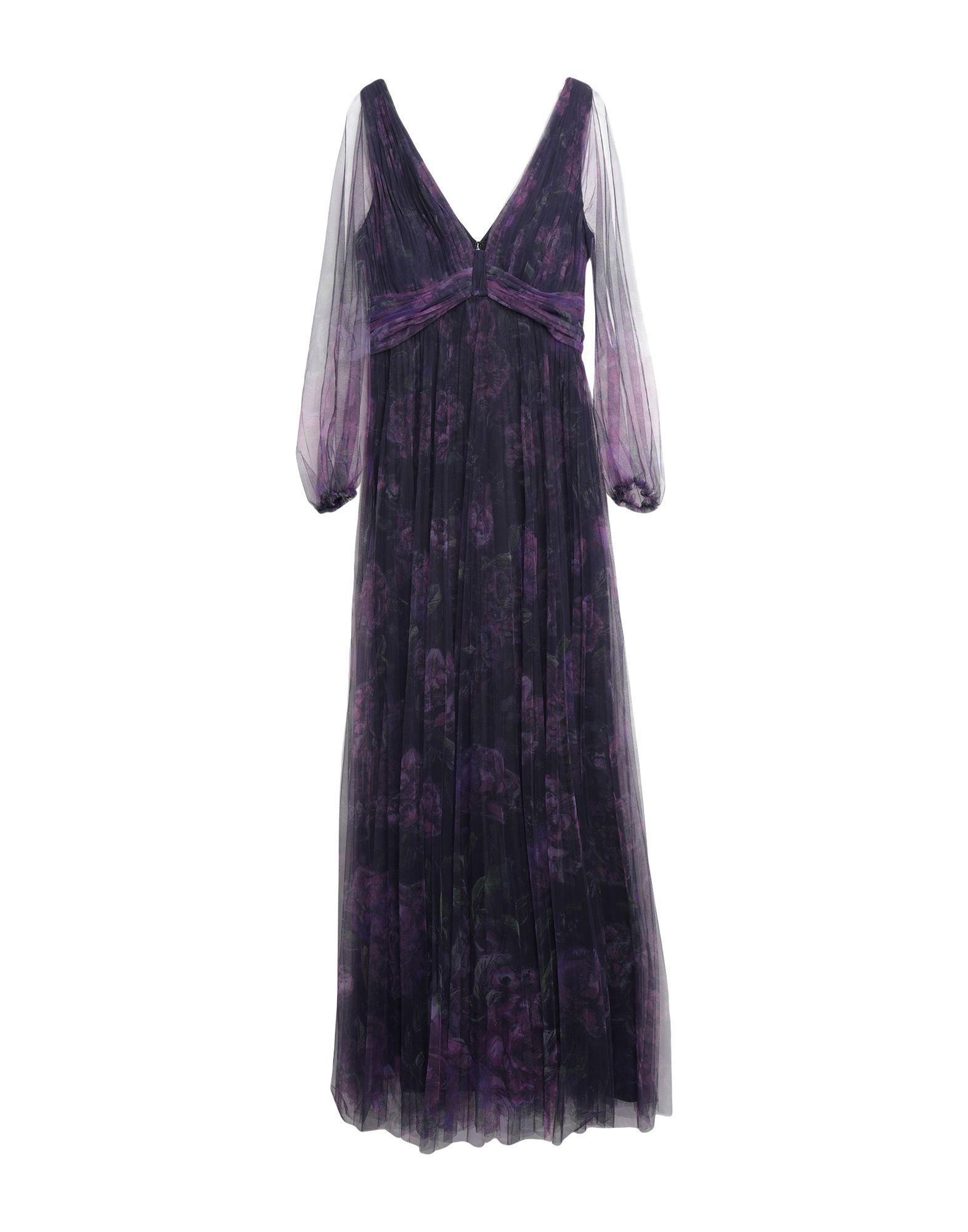 《セール開催中》MARCHESA NOTTE レディース ロングワンピース&ドレス ダークパープル 10 ナイロン 100%