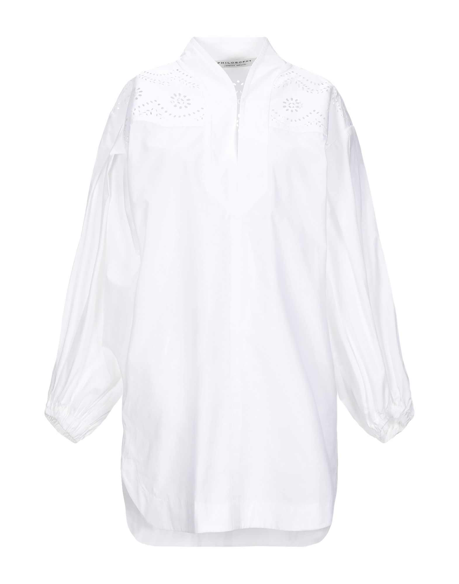 PHILOSOPHY di LORENZO SERAFINI Short dresses. plain weave, openwork, no appliqués, basic solid color, deep neckline, long sleeves, multipockets, side slit hemline, unlined. 100% Cotton