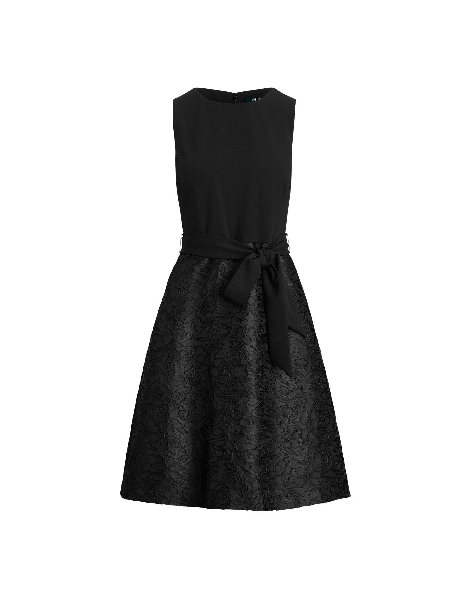 《セール開催中》LAUREN RALPH LAUREN レディース ひざ丈ワンピース ブラック 4 ポリエステル 83% / ナイロン 17% PRINTED GEORGETTE ALETHEO SLEEVELESS EVENING DRESS