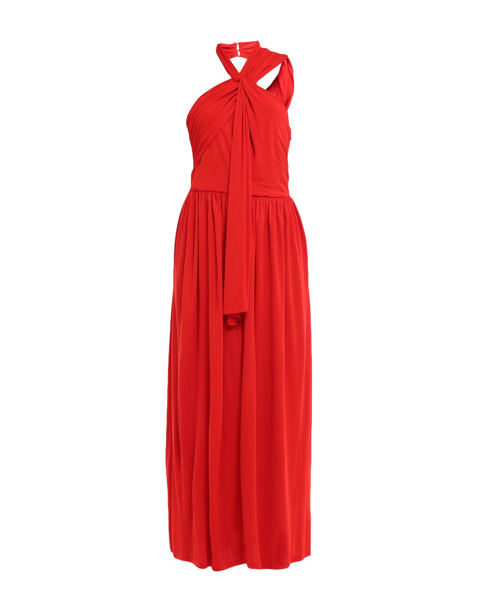 MSGM 3/4 length dresses. jersey, frills, basic solid color, collar with draped neckline, sleeveless, no pockets, side closure, zip, semi-lined. 100% Viscose