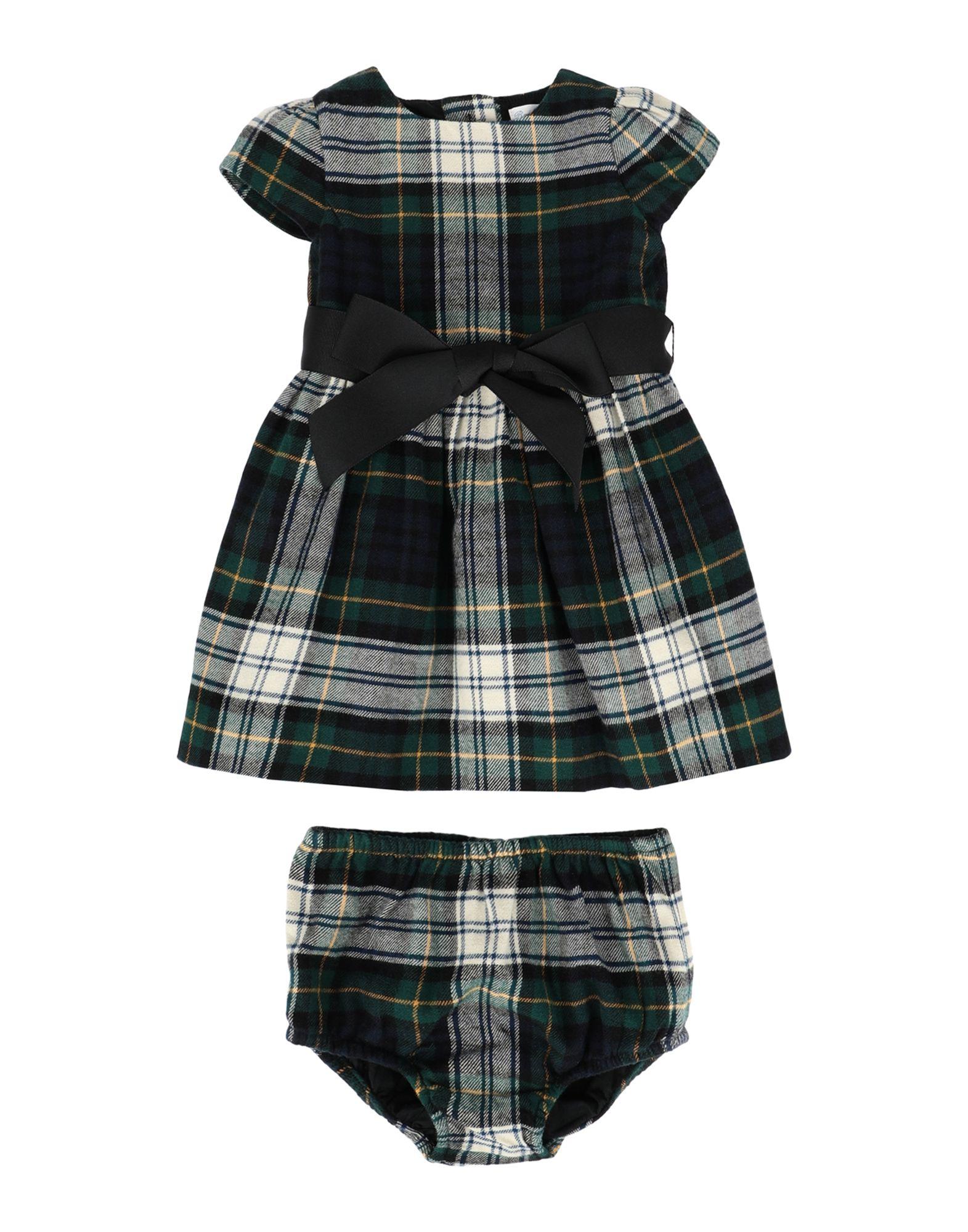 《セール開催中》RALPH LAUREN ガールズ 0-24 ヶ月 ワンピース・ドレス ダークグリーン 18 コットン 100% Tartan Plaid Dress &Bloomer