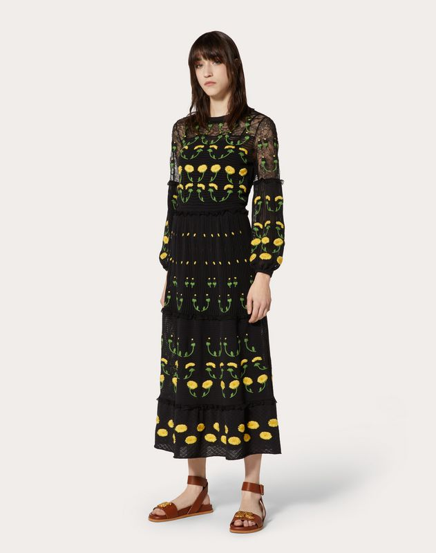 Embroidered Cotton Knitted Dress