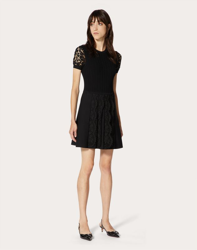 Stretch-Viscose and Heavy Lace Knitted Dress