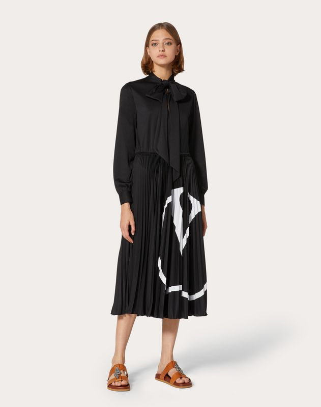 Pleated VLOGO Dress