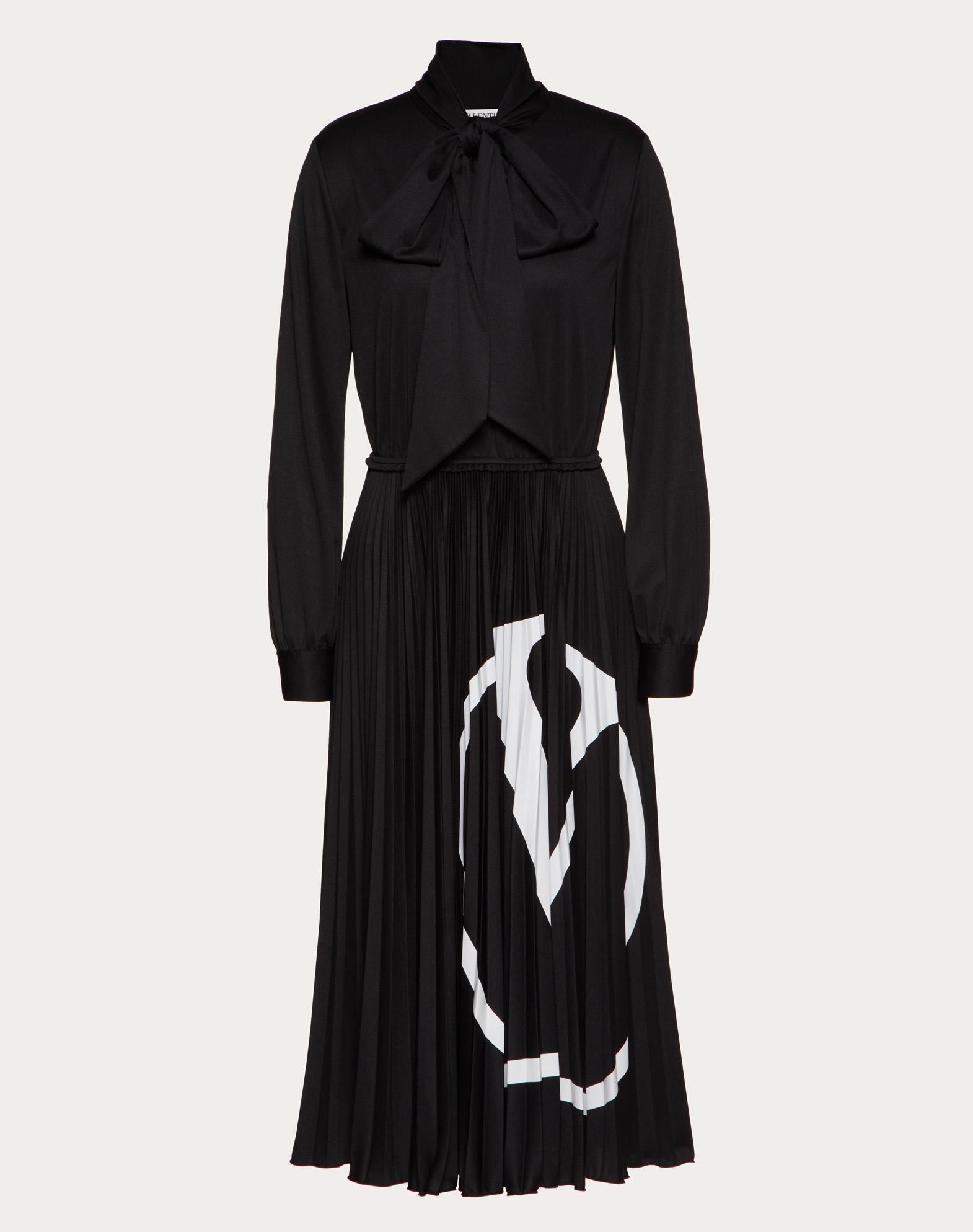 Pleated VLOGO Dress