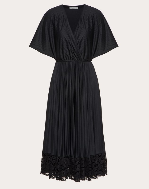 Jersey and Heavy Lace Pleated Dress