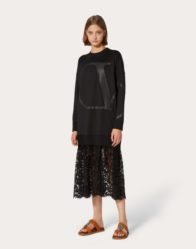 VLOGO Jersey Dress with Heavy Lace Skirt