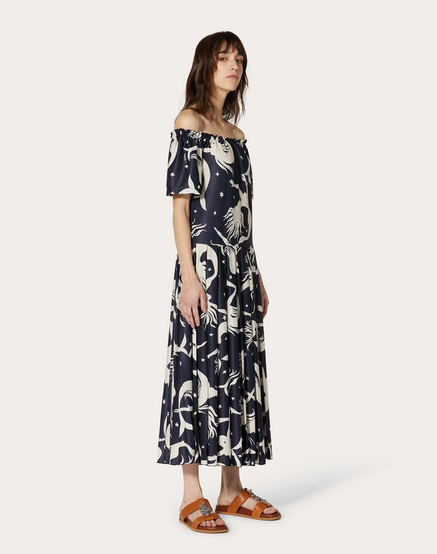 Printed Pleated Jersey Dress