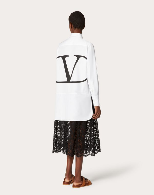 Poplin and Heavy Lace Dress with VLOGO Print