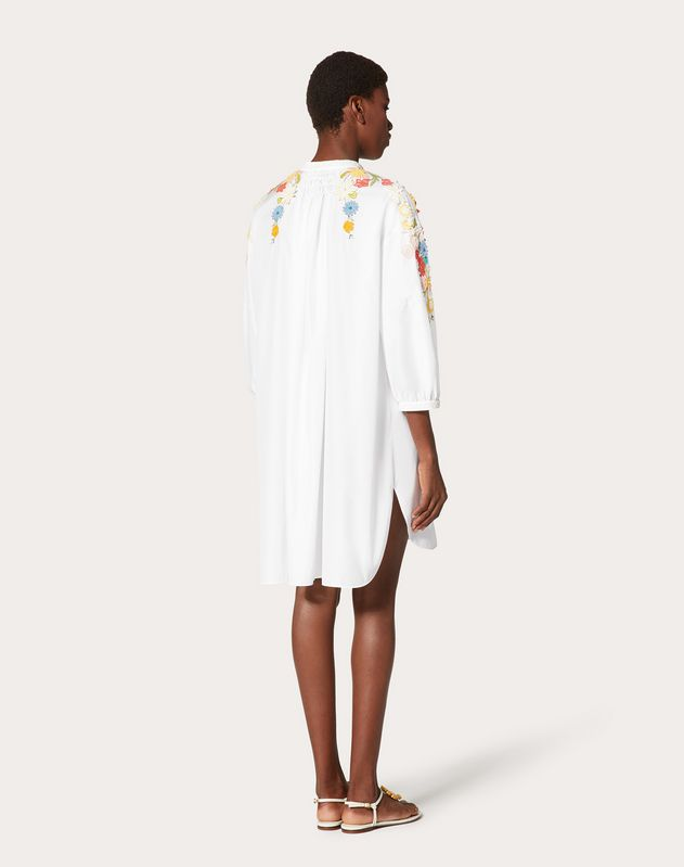 Embroidered Technical Poplin Dress