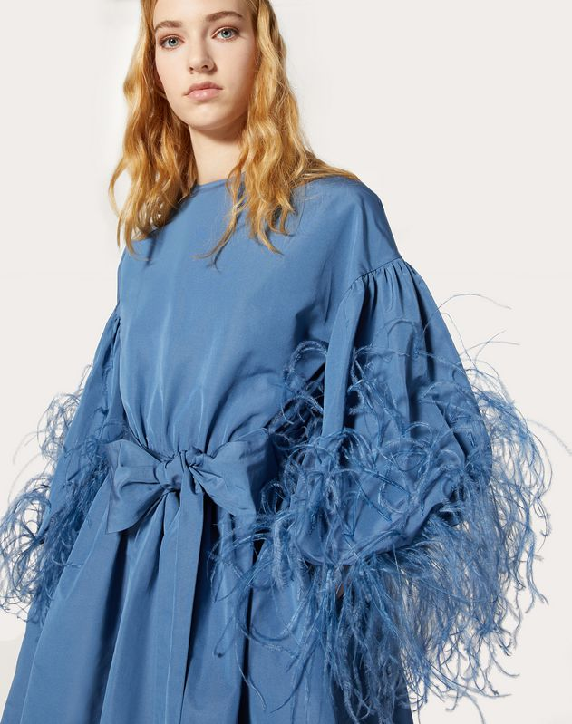 Feather Embroidery Dress in Micro Faille