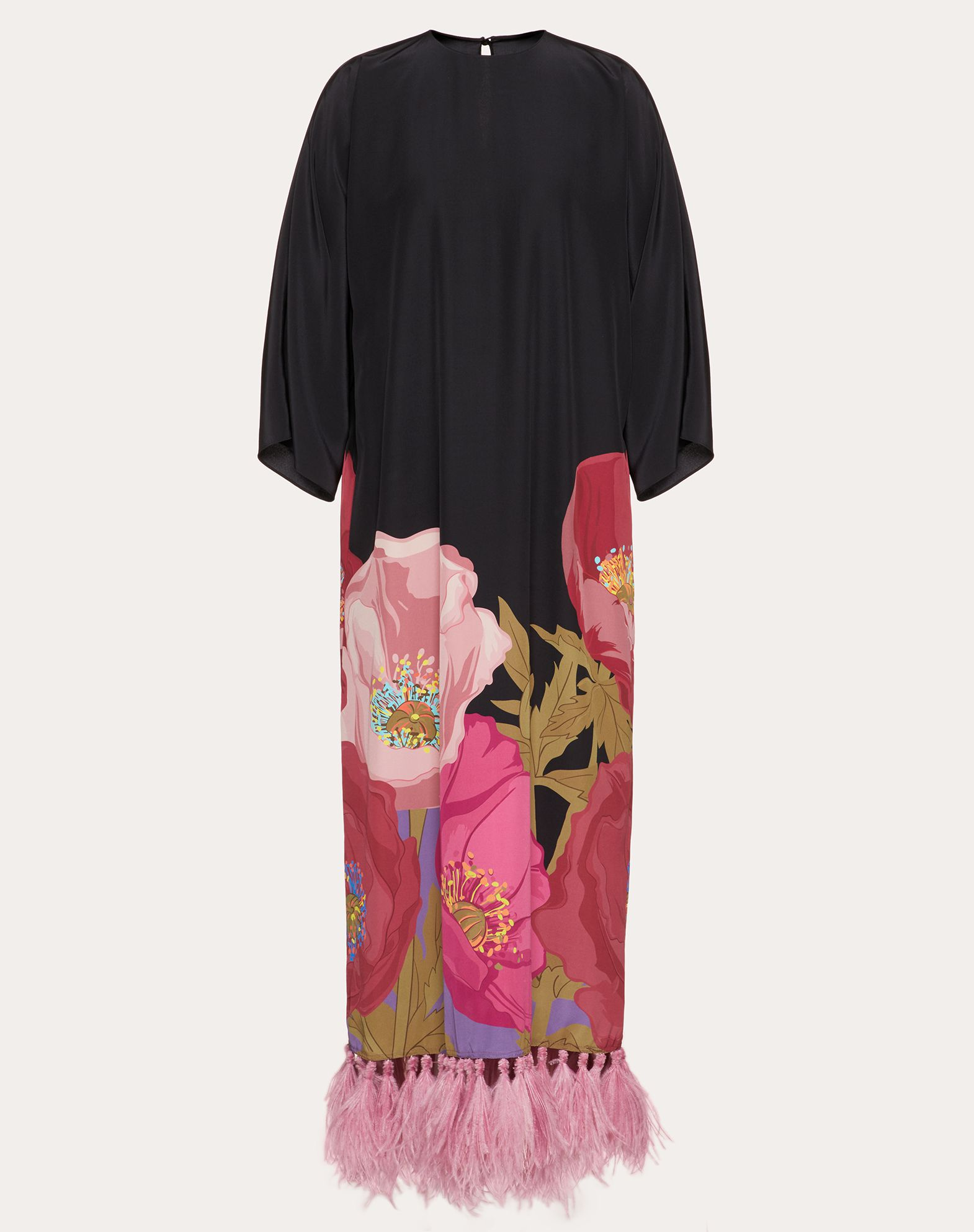 Robe imprimée en crêpe de Chine avec plumes