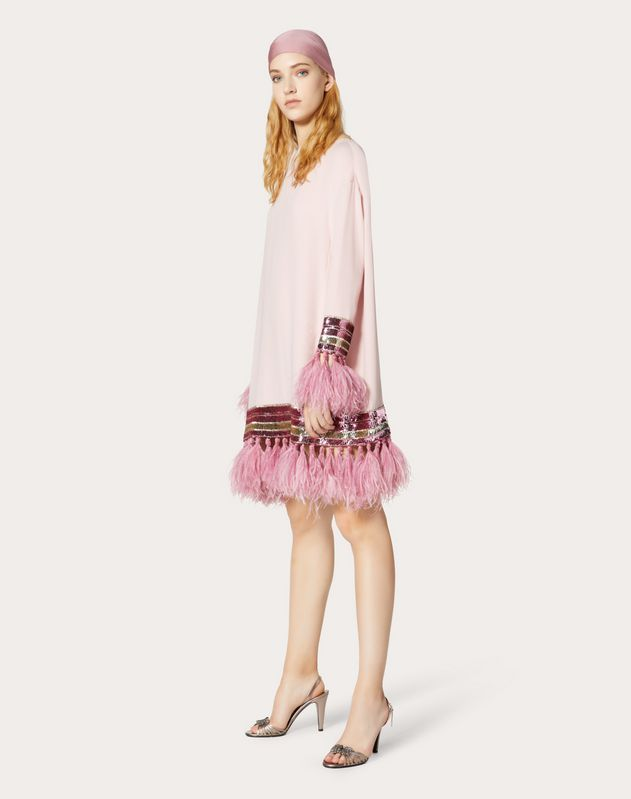 Embroidered Cady Couture Dress with Feathers