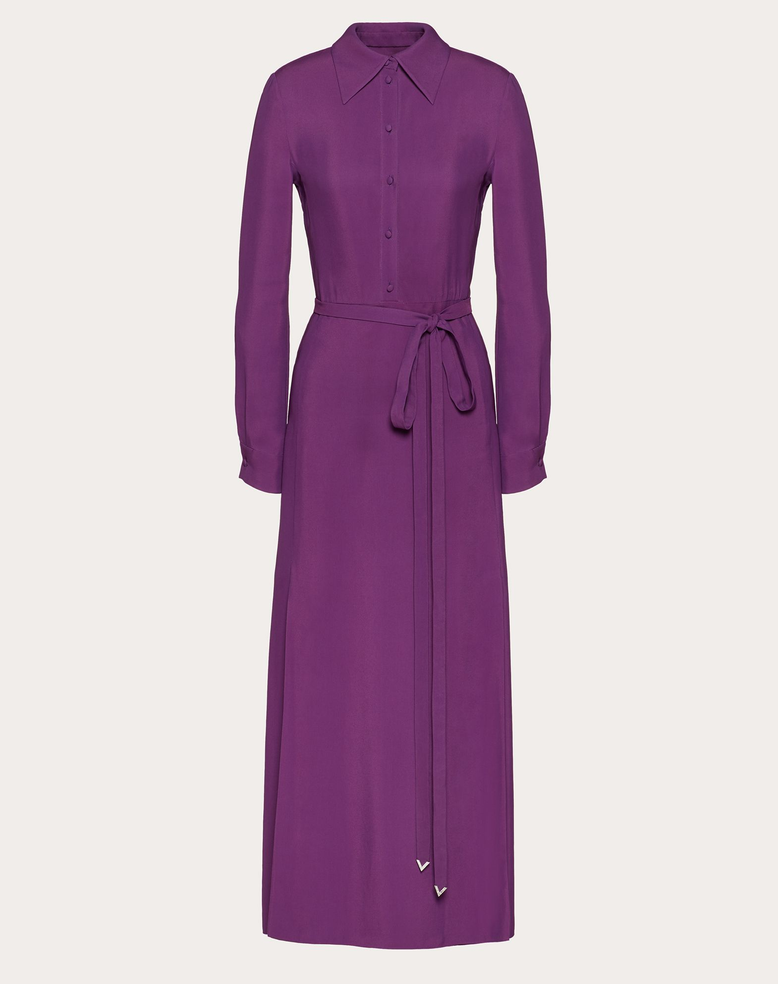 Double-Faced Viscose Dress with V Pavé Belt