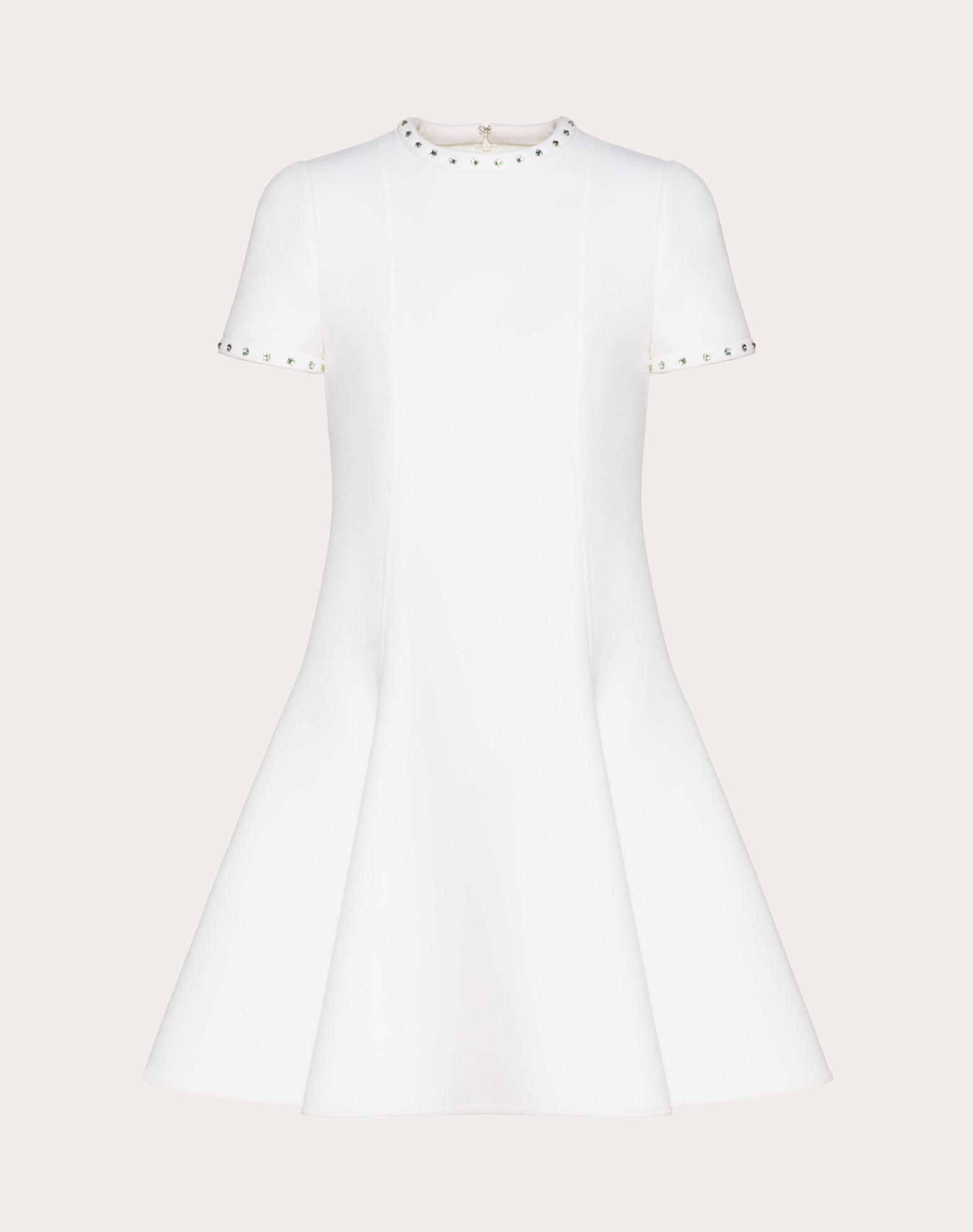 Платье из двойной креп-шерсти с кабошонами