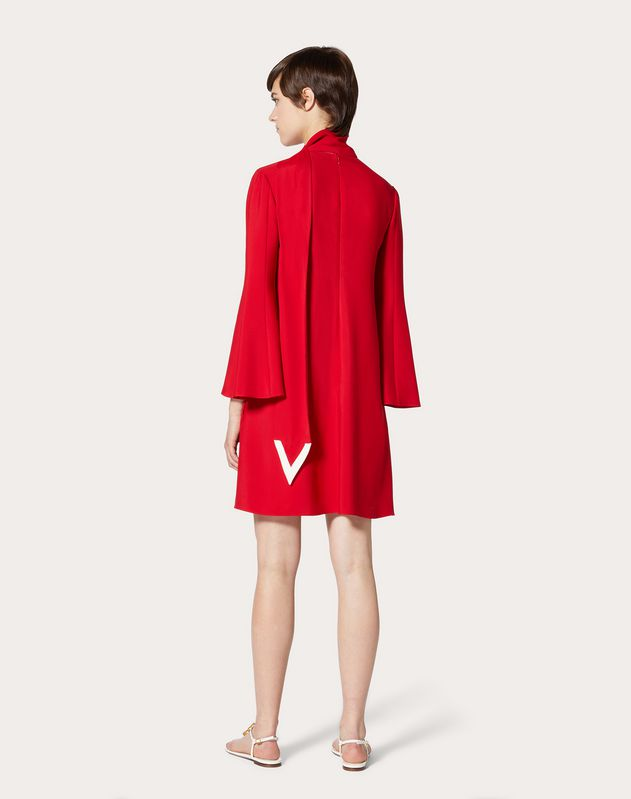 Double-Faced Viscose Dress with V Detailing