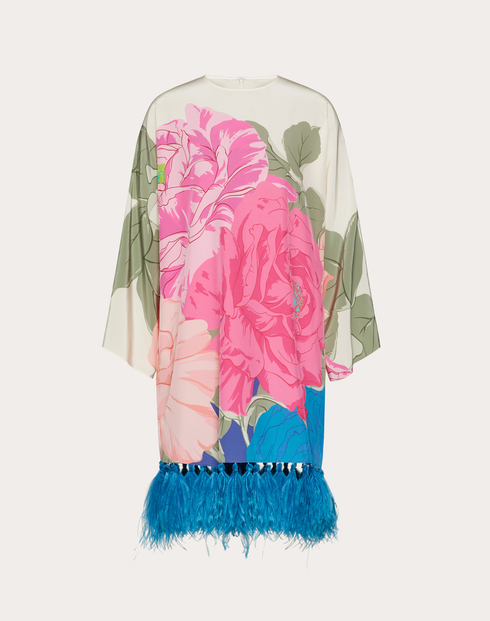 Printed Crepe de Chine Dress with Feathers